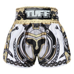 TUFF Muay Thai Boxing Shorts Golden Gladiator in White