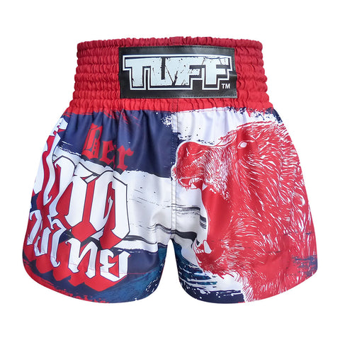 TUFF Muay Thai Boxing Shorts Navy Blue Furious Bear