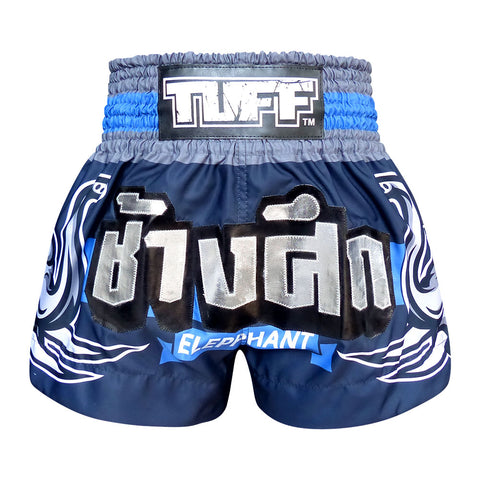 TUFF Muay Thai Boxing Shorts Blue War Elephant