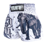 TUFF Muay Thai Boxing Shorts White War Elephant