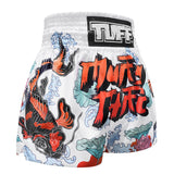 TUFF Muay Thai Boxing Shorts White Japanese Koi Fish With Muay Thai Text