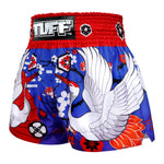 TUFF Muay Thai Boxing Shorts Blue Japanese Drawing Crane Birds