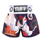 Custom TUFF Muay Thai Boxing Shorts Navy Blue Japanese Drawing Crane Birds