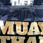 TUFF Muay Thai Boxing Shorts New Black Military Camouflage TUF-MS640-BLK
