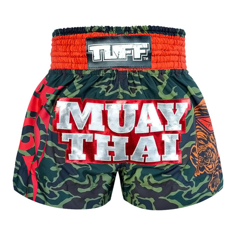 TUFF Muay Thai Boxing Shorts New Green Military Camouflage TUF-MS640-GRN