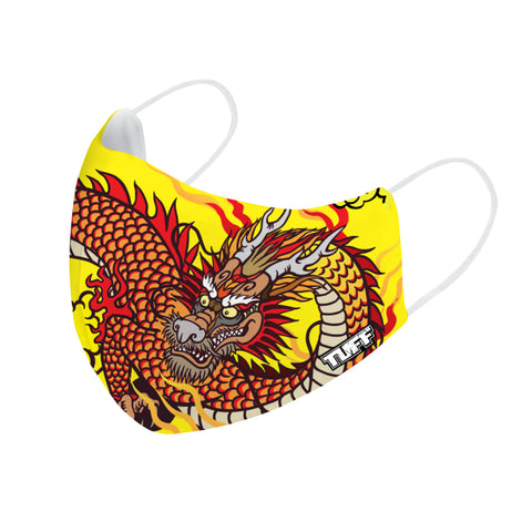 TUFF Fabric Mask Yellow Chinese Dragon