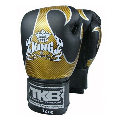 TOP KING Boxing Gloves Empower Creativity Black With Gold Kevlar Printed TKBGEM01