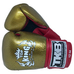 TOP KING Boxing Gloves Empower Creativity Red With Gold Kevlar Printed TKBGEM02