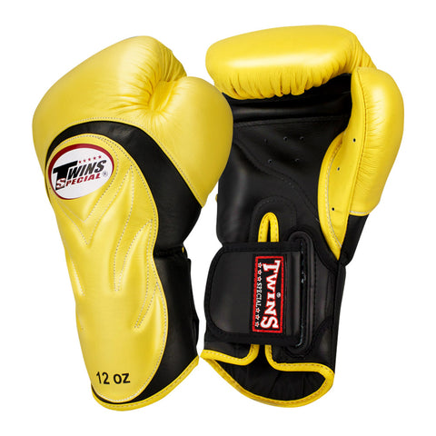 Twins Special New Style Boxing Gloves Leather Black Gold BGVL-6