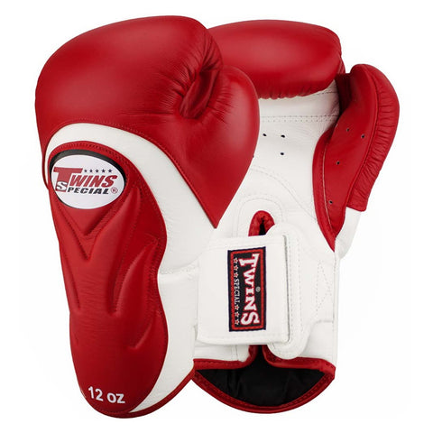 Twins Special New Style Boxing Gloves Leather White Red BGVL-6