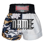 Custom Kombat Gear Muay Thai Boxing shorts Two Tone White Grey Camouflage