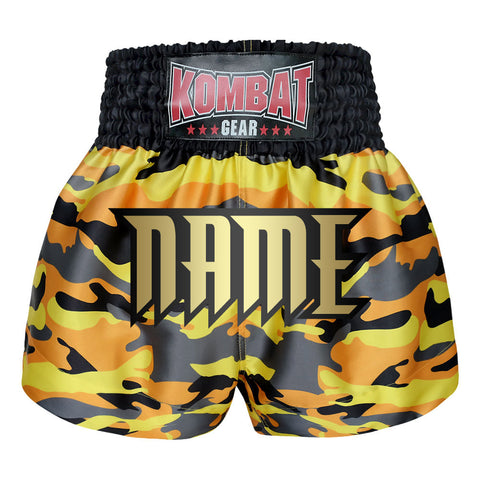 Custom Kombat Gear Muay Thai Boxing shorts Yellow Camouflage