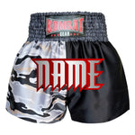 Custom Kombat Gear Muay Thai Boxing shorts Two Tone Black Star Pattern White Camouflage