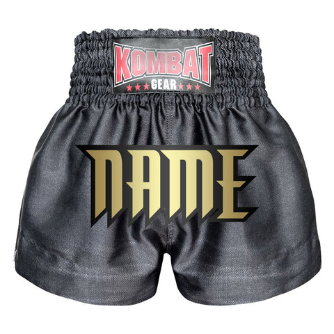 Custom Kombat Gear Muay Thai Boxing shorts Black Denim Pattern