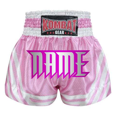 Custom Kombat Gear Muay Thai Boxing shorts Pink Star Pattern With White Strips