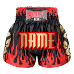 Custom Kombat Gear Muay Thai Boxing shorts Black Star Pattern Red Fire Gold Thai Tattoo