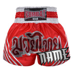 Custom Kombat Gear Muay Thai Boxing Red Shorts With White Stripe
