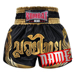 Custom Kombat Gear Muay Thai Boxing Black Shorts With Thai Gold Kanok Pattern