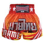 Custom Kombat Gear Muay Thai Boxing Geometry Shorts With Stripes Orange Yellow