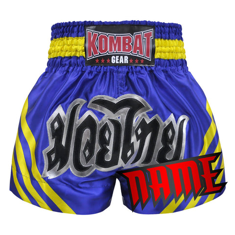 Custom Muay Thai Boxing Blue Shorts With Yellow Stripe