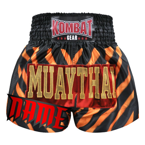 Custom Kombat Gear Muay Thai Boxing Shorts Zebra Pattern Orange Black