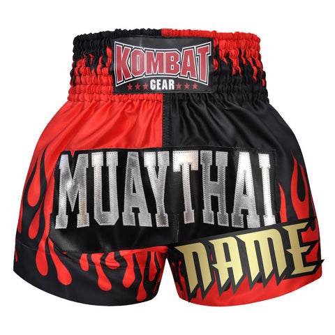 Custom Kombat Gear Muay Thai Boxing Two Tone Shorts With Fire Black Red