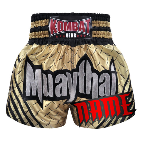 Custom Kombat Gear Muay Thai Boxing Ivory Steel With Black Stripe