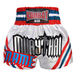 Custom Kombat Gear Muay Thai Boxing White Shorts With Red Blue White Stripe