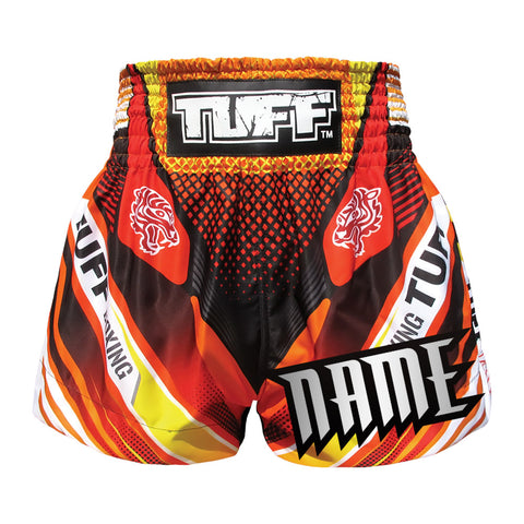 Custom TUFF Muay Thai Boxing Shorts Red With Double Tiger