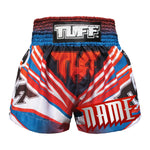 Custom TUFF Muay Thai Boxing Shorts Blue Cool Design