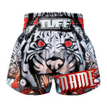 Custom TUFF Muay Thai Boxing Shorts Grey Cruel Tiger