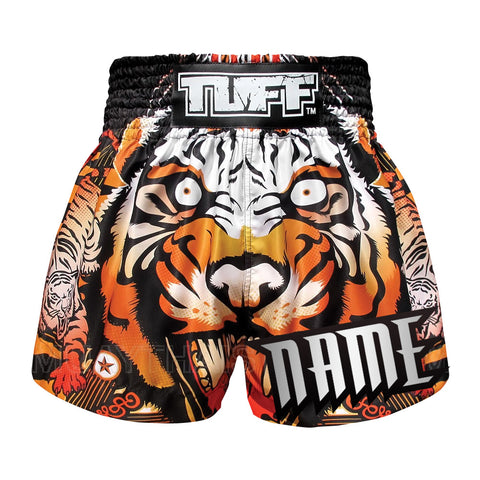 Custom TUFF Muay Thai Boxing Shorts Orange Cruel Tiger