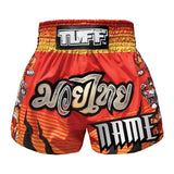 Custom TUFF Muay Thai Boxing Shorts Red With Tiger Inspired by Chinese Ancient Drawing