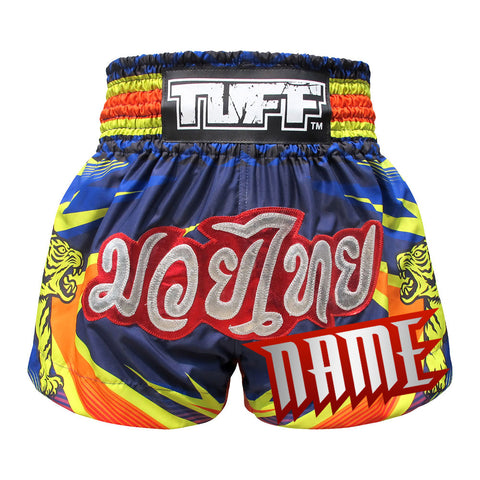 Custom TUFF Muay Thai Boxing Shorts Blue With Double Yellow Tiger