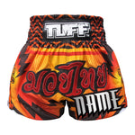 Custom TUFF Muay Thai Boxing Shorts Orange With Black Thunderbolt & Double Tiger