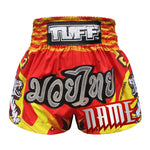 Custom TUFF Muay Thai Boxing Shorts Red With Double White Tiger