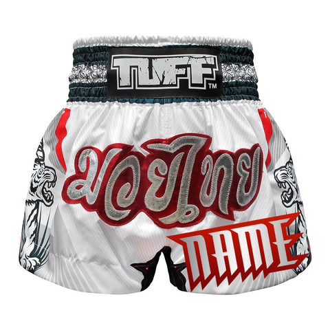 Custom TUFF Muay Thai Boxing Shorts White With Double White Tiger