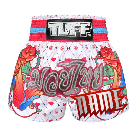 Custom TUFF Muay Thai Boxing Shorts White With Classic Rose