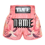 Custom TUFF Muay Thai Boxing Shorts Birds And Roses Inspired by Ancient Drawing