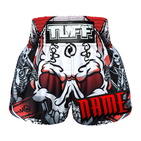 Custom TUFF Muay Thai Boxing Shorts Devil Skull With Double Skeleton