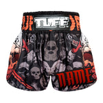 Custom TUFF Muay Thai Boxing Shorts Battalion Skull in Black