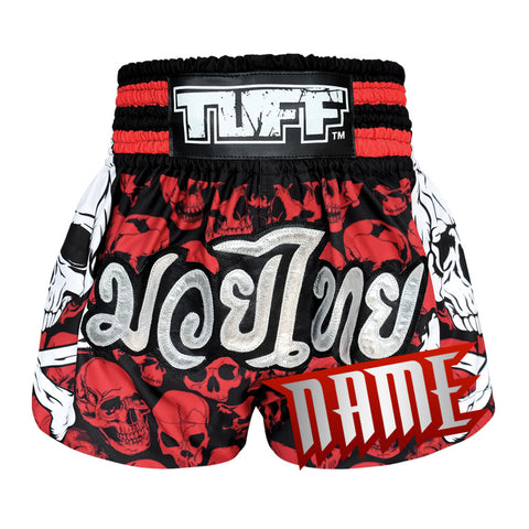 Custom TUFF Muay Thai Boxing Shorts Battalion Skull in Red