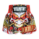 Custom TUFF Muay Thai Boxing Shorts Dragon King in White
