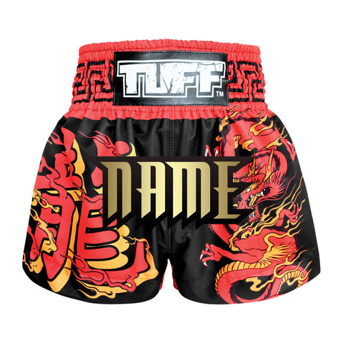 Custom TUFF Muay Thai Boxing Shorts Red Dragon in Black