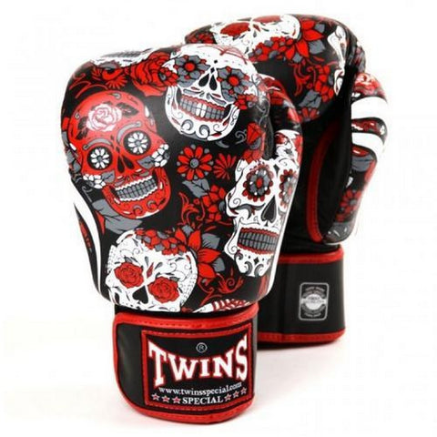 Twins Special Boxing Gloves Skull Black Red FBGV-53