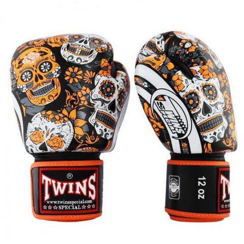 Twins Special Boxing Gloves Skull Black Orange FBGV-53