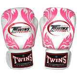 TWINS Fancy Gloves Velcro Closure White with Pink Kanok FBGV-11
