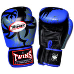 TWINS Fancy Gloves Velcro Closure Blue with Graphic FBGV-36