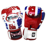 TWINS SPECIAL Fancy Boxing Gloves Velcro Premium Leather UK Flag Graphic Printed FBGV-44
