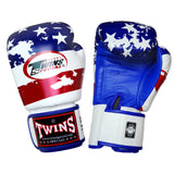 TWINS SPECIAL Fancy Boxing Gloves Velcro Premium Leather USA Flag Graphic Printed FBGV-44